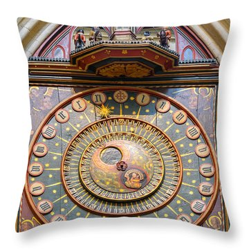 Throw Pillow featuring the photograph Wells Cathedral Clock by Colin Rayner