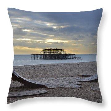 West Pier Brighton Throw Pillow