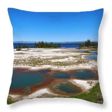 West Thumb Geyser Basin In Yellowstone National Park Throw Pillow by Louise Heusinkveld