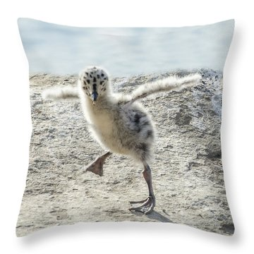 Western Gull Chick Dancing Throw Pillow