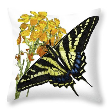 Western Tiger Swallowtail On A Western Wallflower Throw Pillow