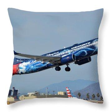 Westjet Boeing 737-8ct C-gwsz Magic Plane Phoenix Sky Harbor January 22 2016 Throw Pillow by Brian Lockett