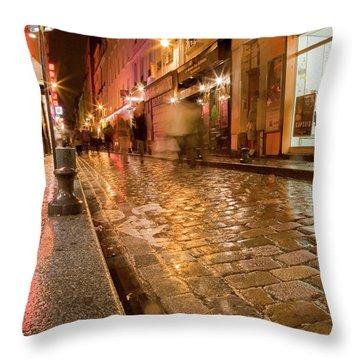 Wet Paris Street Throw Pillow