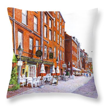 Wharf Street Portland Maine Throw Pillow by Thomas Michael Meddaugh