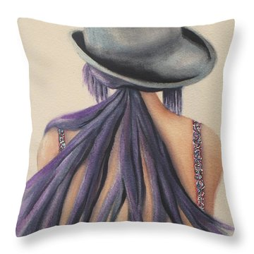 Throw Pillow featuring the painting What Lies Ahead Series   by Chrisann Ellis