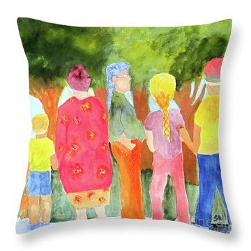 Throw Pillow featuring the painting What's To See by Sandy McIntire