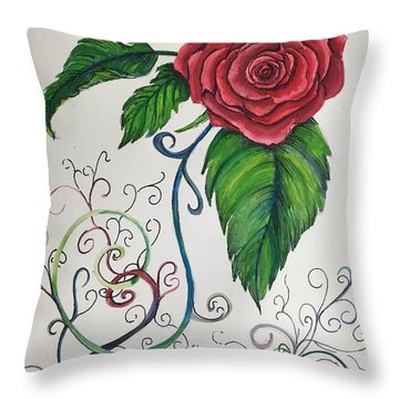 Whimsical Red Rose Throw Pillow