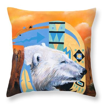 White Bear Goes Southwest Throw Pillow