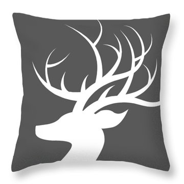 White Deer Silhouette Throw Pillow by Chastity Hoff