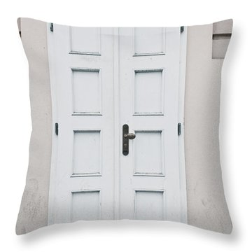 White Door Throw Pillow