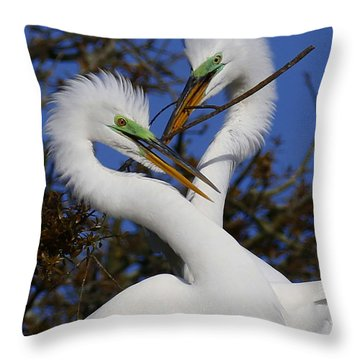 White Egrets Working Together Throw Pillow