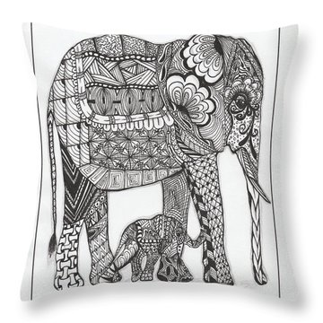 White Elephant And Baby Throw Pillow by Kathy Sheeran