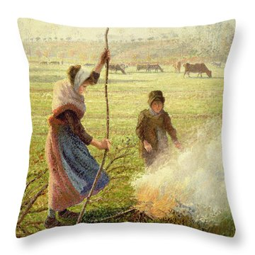 White Frost Throw Pillow by Camille Pissarro