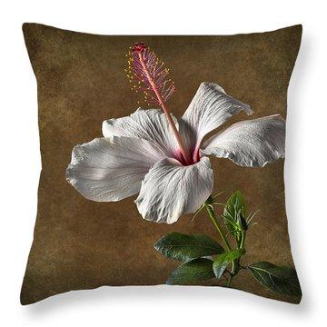 White Hibiscus Throw Pillow