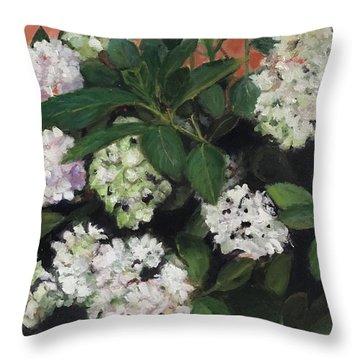 White Hydrangeas  Throw Pillow
