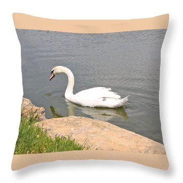White Swan Throw Pillow by Ellen Tully