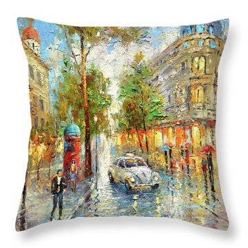 White Taxi Throw Pillow