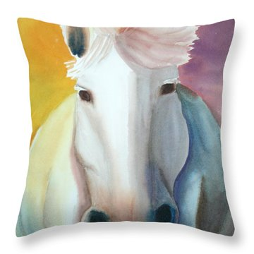 White Work Horse Throw Pillow