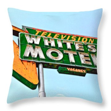 White's Motel Throw Pillow by Matthew Bamberg