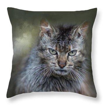 Wild Cat Portrait Throw Pillow