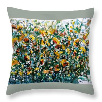 Throw Pillow featuring the painting Wild Flowers#3 by Laila Awad Jamaleldin