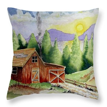 Wilderness Cabin Throw Pillow by Jimmy Smith