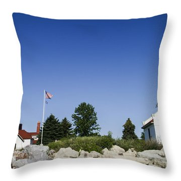 Throw Pillow featuring the photograph Wind Point Lighthouse  by Ricky L Jones