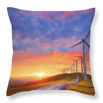 wind turbines in Oiz eolic park Throw Pillow