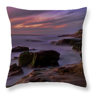 Throw Pillow featuring the photograph Windansea Beach At Dusk by Eddie Yerkish