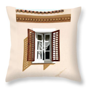 Window Above Athens - Prints From Original Oil Painting Throw Pillow