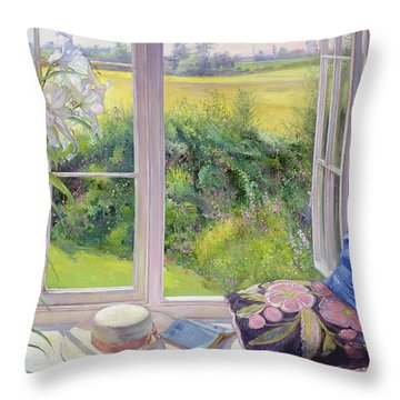 Window Seat And Lily Throw Pillow