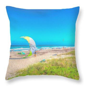 Windsurf Beach Throw Pillow