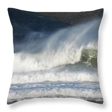 Throw Pillow featuring the photograph Windy Seas In Cornwall by Nicholas Burningham