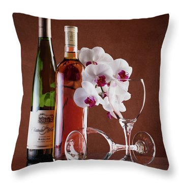 Wine And Orchids Still Life Throw Pillow