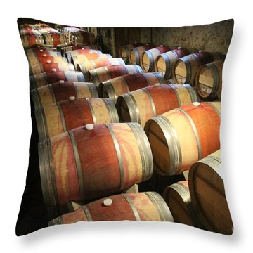 Wine Barrels Throw Pillow by Anthony Jones