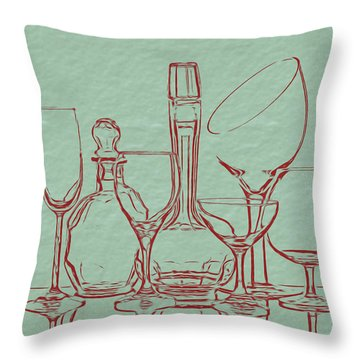 Wine Decanters With Glasses Throw Pillow