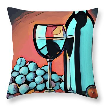 Wine Glass Bottle And Grapes Abstract Pop Art Throw Pillow