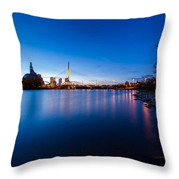 Winnipeg At Night Throw Pillow