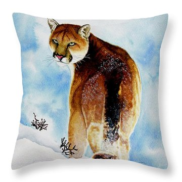 Winter Cougar Throw Pillow by Jimmy Smith