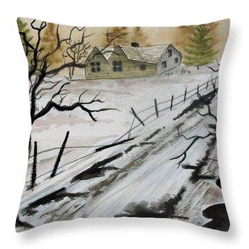 Winter Farmhouse Throw Pillow by Jimmy Smith