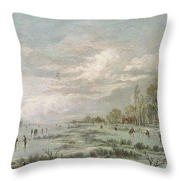 Winter Landscape Throw Pillow by Aert van der Neer