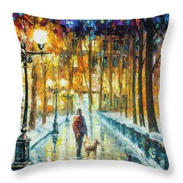Winter Light  Throw Pillow by Leonid Afremov