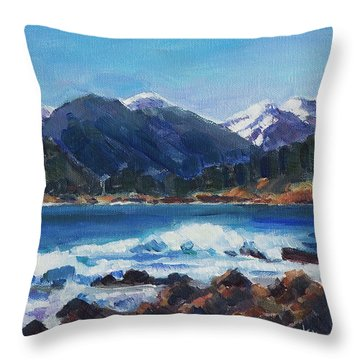 Throw Pillow featuring the painting Winter Mountains Alaska by Yulia Kazansky