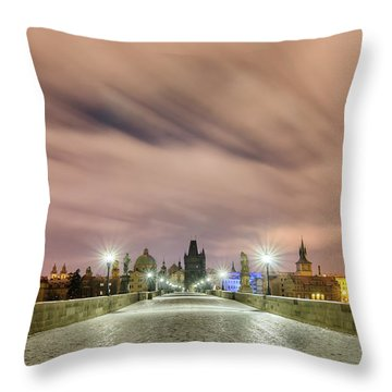 Winter Night At Charles Bridge, Prague, Czech Republic Throw Pillow