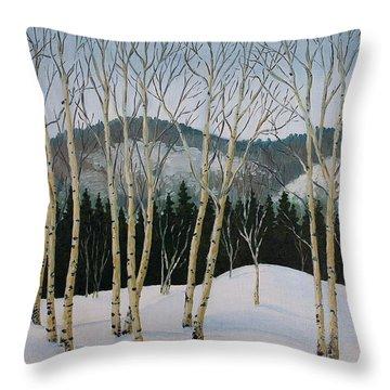 Winter Poplars Throw Pillow by Richard De Wolfe