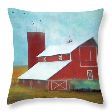 Winter Red Barn Throw Pillow