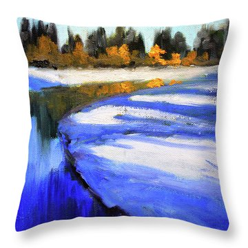 Throw Pillow featuring the painting Winter River by Nancy Merkle