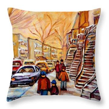 Winter Walk In Montreal Throw Pillow by Carole Spandau