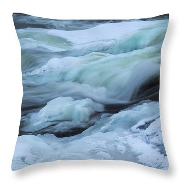 Winter Waterfall Throw Pillow