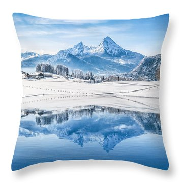 Winter Wonderland In The Alps Throw Pillow by JR Photography